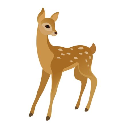 Vector drawing of a cute young deer on a white background Stock Illustratie