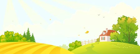 Vector cartoon drawing of a fall farm scene