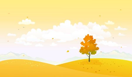 Vector autumn nature, yellow hills and sky background Illustration
