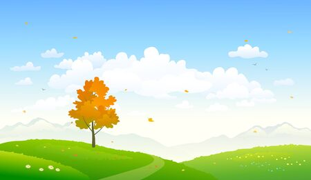 Vector cartoon illustration of a colorful autumn nature