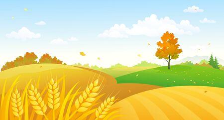 Illustration de dessin animé de vecteur de champs de blé d'automne Vecteurs