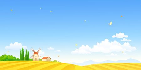 Autumn farm scene with a windmill and fields Stock Illustratie