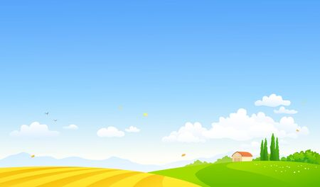 Vector cartoon drawing of an autumn farm landscape