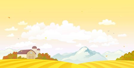Vector drawing of a fall farm fields and sunset sky and clouds