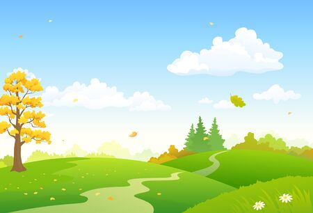 Vector cartoon illustration of a colorful autumn scenery