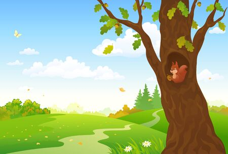 Vector cartoon illustration of an autumn forest with a cute squirrel