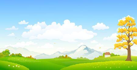 Dessin animé vectoriel d'un paysage d'automne coloré Vecteurs