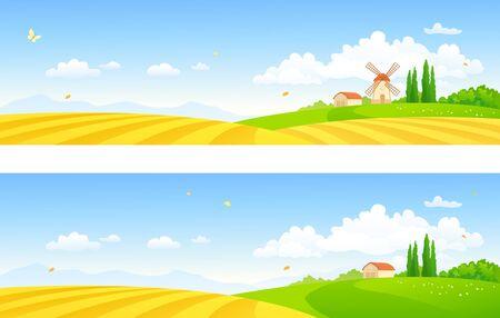 Banner di fattoria vettoriale con mulino a vento e campi