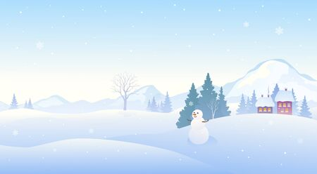 Winter snow covered landscape with a cute snowman, panoramic mountain background