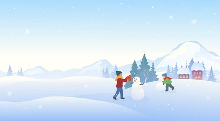 Kids making snowman, snowy winter fun outdoor, horizontal banner background