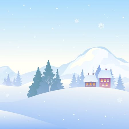 Snow covered mountain village, square background