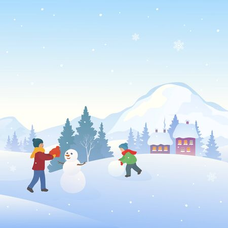 Kids making snowmen, snowy winter fun, square background