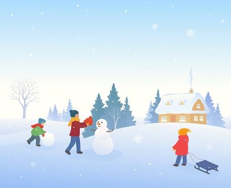 Snow covered winter village and kids building a snowman