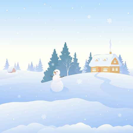 Cute snowman and snow covered winter landscape, square background