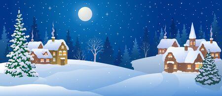 Snowy night village panorama