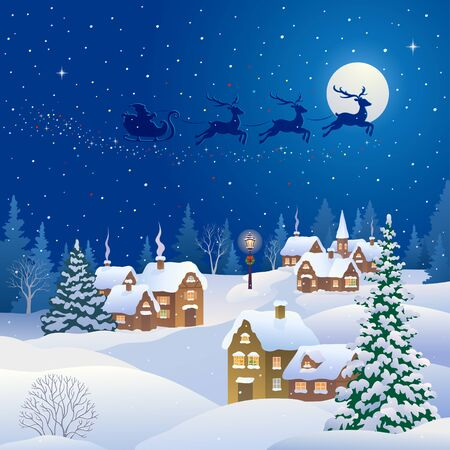 Christmas night village and Santa Claus flying sleigh Ilustrace