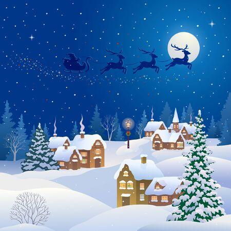 Pueblo de la noche de Navidad y trineo volador de Santa Claus