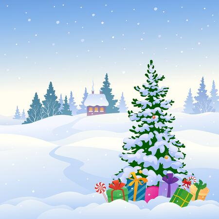 Winter snowy landscape and a Christmas tree with gifts Ilustracje wektorowe
