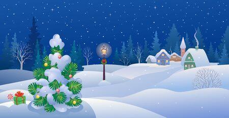 Pueblo nevado y un pequeño árbol de navidad.
