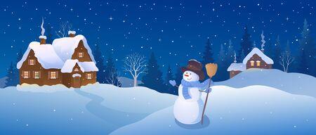 Snowman and snowy winter village, Christmas night panorama