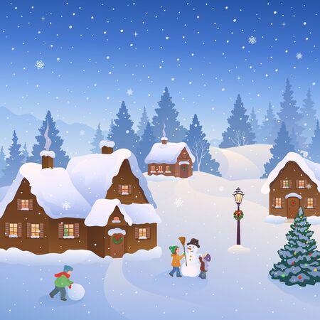 Escena de la ciudad nevada con niños construyendo muñecos de nieve.