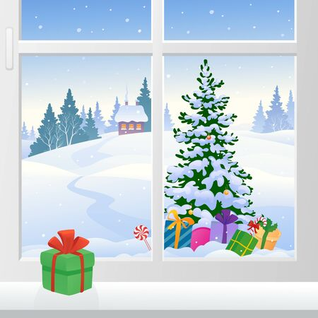 Winter window view with a Christmas tree outdoor Illustration