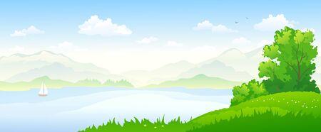 Vector illustration of river landscape, panoramic banner
