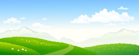 Vector illustration of green hills and sky, panoramic background