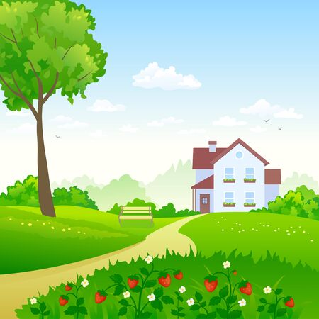 Vector illustration of a green garden with a strawberry meadow