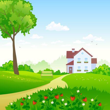 Ilustración de vector de un jardín verde con un prado de fresas