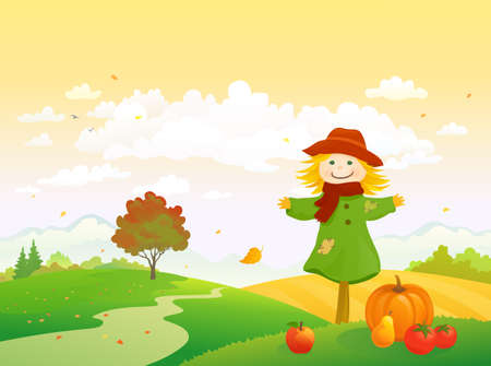 Vector illustration of an autumn harvest scene with a cute scarecrow, Thanksgiving landscape Vektorové ilustrace