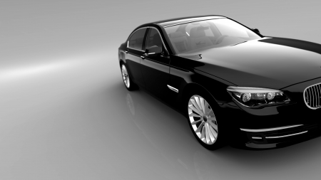 Black car - luxury, expensive vehicle for a vip standing in a showroom studio