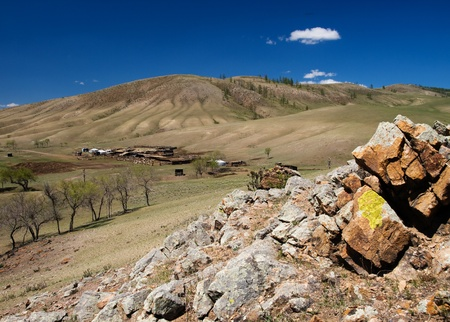 Remote mongolian settlement in the mountains Stock Photo - 11301519
