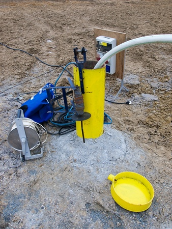 drilling well: Hydrologeology borehole during pumping test