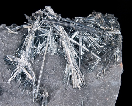 antimony: Cluster of natural shiny stibnite crystals