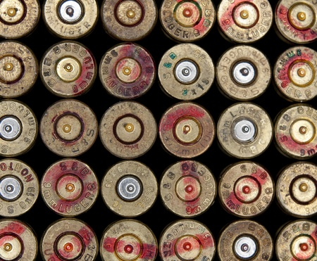 bullet proof: Brno, Czech republic, January 5, 2010 - Used 9 mm Luger ammo shells background