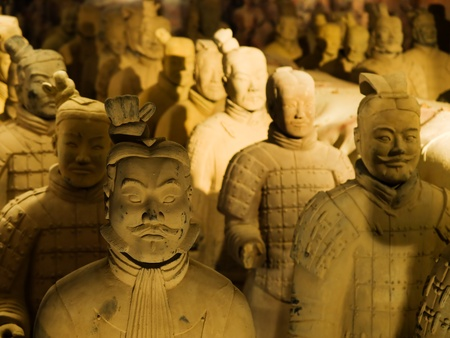 Brno, Czech republic - January 3, 2010 - Terracotta army exhibition, soldiers with general in front