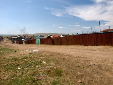 krottenwijk: Mongoolse sloppenwijk in de stad Erdenet