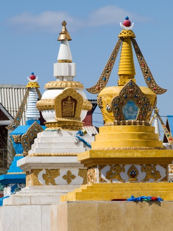 the stupa: Row of stupa in Gandan buddhist monastery, Ulaanbaatar, Mongolia