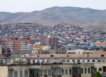 View over the Ulaanbaatar centre with typical architecture, Mongolia