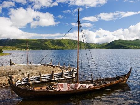 Viking war ship in the dock photo