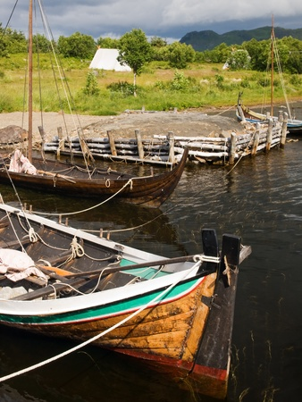 Viking war ships in the dock photo