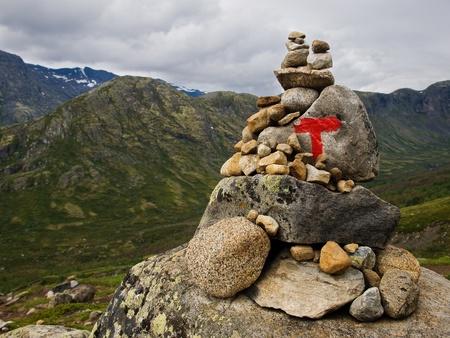 np: Detail of tourist mark on Bessegen ridge trail, Jotunheimen NP, Norway