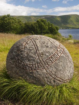 Carved viking stone at Borg museum, Lofoten, Norway