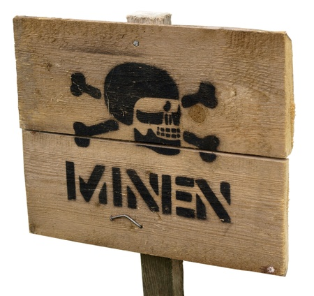 landmine: Warning sign on landmine field Stock Photo