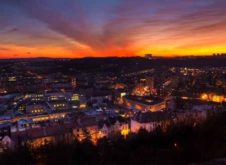Night cityscape of Brno, Czech republic Stock Photo
