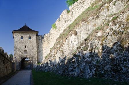 Gate of gothic Trencin castle in Slovakia Standard-Bild