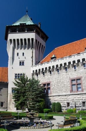 neogothic: Yard of neogothic Smolenice chateau, Slovakia Stock Photo