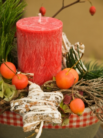 Christmas arrangement with fruit, christmas decoration and big candle