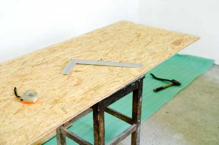 Installation of insulation and chipboard floor Stock Photo - 14967168
